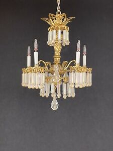 Dollhouse Miniature Handcrafted Crystal Chandelier 5 Candle Lights 1:12 12V