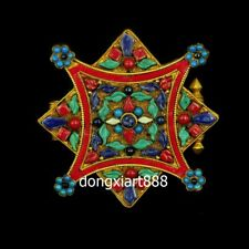 Tibet red cop gold octagonal inlay turquoise niche for Buddha shrine pendant