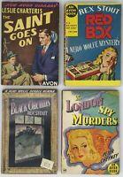 4 Early New Avon Library pb's - Charteris, Stout, Cheyney, Nero Wolfe, The Saint