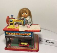 *RARE* VINTAGE DOLLY DRESSMAKER Tin Toy Seamstress Sewing Machine Japan T.N.