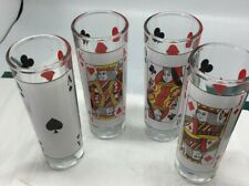 Tall Double Shot Vintage Shot glasses, Ace, King, Queen, Jack
