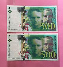 FRANCE 500 FRANCS CURIE 1994 / 500 FRANCS CURIE 1995 - BILLETS en état pr.TB.