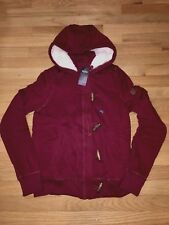 NWT Hollister by Abercrombie Sherpa Lined Toggle Hoodie Sweatshirt M Burgundy