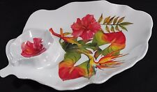 TROPICAL FLOWERS Bird of Paradise Plastic Melamine Chip Vegetable DIP TRAY BOWL