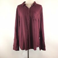 Maurices Womens Button Down Shirt Size XXL Burgundy Long Sleeve Blouse