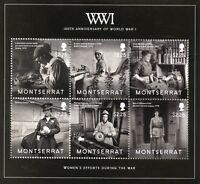 Montserrat Military Stamps 2014 MNH WWI WW1 World War I Women's Efforts 6v M/S