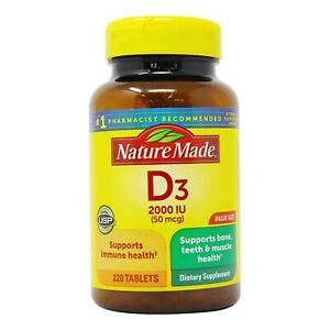 Nature Made Vitamin D3 2000 IU (50 mcg) Tablets, 220 Count