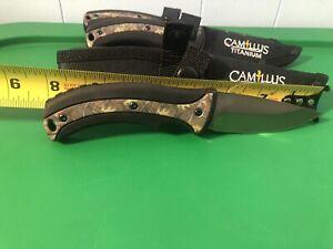 (4) Camillus Titanium Fixed Blade Knife with Sheath