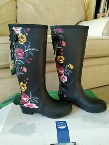 Joules Ladies tall Wellies. Black Border Floral Print.  Size UK 6. New with box