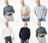 Marks & Spencer M&S Mens Long Sleeve Cotton Linen Grandad Collar Shirt Top S-4XL