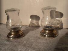 Sterling and glass salt and pepper shakers Quaker Hurricane lamp shape Newport