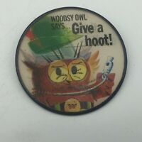 "Vtg Woodsy Owl Give A Hoot Don't Pollute 2-1/2"" Flicker Pin Badge Pinback   Y4"
