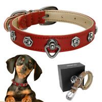 Luxury Flower Studded Real Leather Dog Collars for Small Dogs Pug French Bulldog