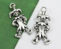 6 or 20 CLOWN Charms, Tibetan Antique Silver Circus Jester Charm Set Lot 25x12mm