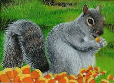 Cute Animal Candy Corn Wildlife Squirrel NFAC Original ACEO Oil Painting