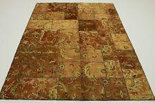 Patchwork Orient Tapis Vintage 240x170 marron beige Used Look noué à la main