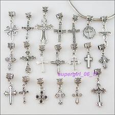 20Pc Tibetan Silver Cross Connector Charm European Bail Beads Fit Bracelet Mixed