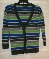 Banana Republic Womens Size PS  Green Blue Gray Striped Cardigan Sweater  GC