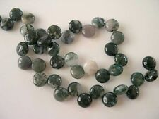 Moss agate coin beads top drilled 12mm