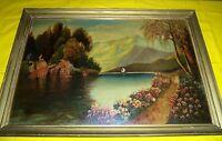 Oil Painting On Panel - Mountain & Lake Landscape - SMOKEY