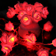 20 LED Battery Operated Rose Flowers String Fairy Lights Home Bedroom Indoor XJ