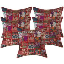 Decorative Cotton Abstract Red 24x24 Vintage Patchwork Bohemian Pillow Covers