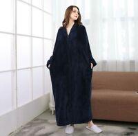 Ladies Fleece Dressing Gown Soft Long Hooded Fleece Bath Robe House Coat