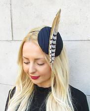 Dark Navy Blue Brown Statement Feather Fascinator Races Hat Headpiece Ascot 2301