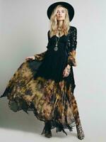 Women Ladies Vintage BOHO Dress Hippie  Maxi Long Chiffon Sheer Beach Dresses Sz