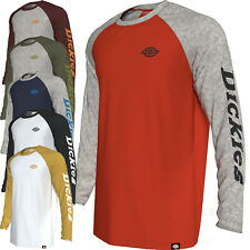 Dickies Shirts Mens Long Sleeve Raglan Sleeves Graphic Baseball T-Shirt