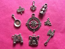 Tibetan Silver Mixed Camping/Scouting Themed Charms 9 per pack - Cubs/Scouts
