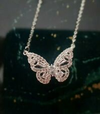 -we❤- Butterfly Crystal Necklace Silver Plated Swarovski style pendant