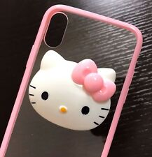 For iPhone X - HARD TPU RUBBER GUMMY SKIN CASE COVER 3D PINK CLEAR HELLO KITTY