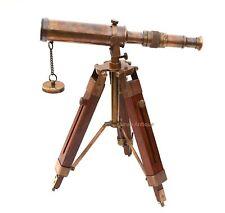 Telescópio De Latão Colecionável Tripé De Madeira Estilo Vintage Spyglass Antiguidade Presente