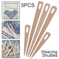 UK 5x Wood Hand Loom Stick Wooden Shuttle Tapestry Weaving Knit Handcrafts Tools