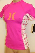 NWT Hurley Swimsuit Cover Up  Rashguard Top Sz M Pink White