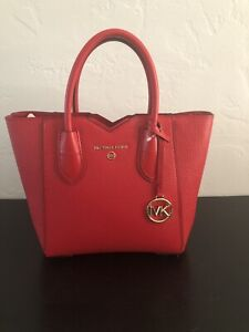 Michael Kors Mae Bright Red Messenger Bag NWT
