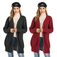 Women Fashion Cardigan Long Sleeve Top Open Front Sweater Thick Warm Coat Jacket