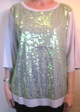 Nicola Waite Size L or 14 Green Grey Sequin T-Shirt Top
