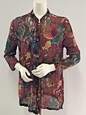 UNITS Floral Sequined Button Down Blouse Shirt TOP Size Large 10-12 Multi Color