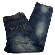 Kanji Men's Designer Thick stitch faded distressed Stud Jeans size 42/33