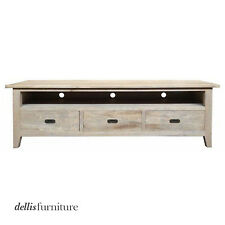 NEW 'Hampton Range' Grey Washed Oak Timber Entertainment Unit w Drawers, 2 sizes