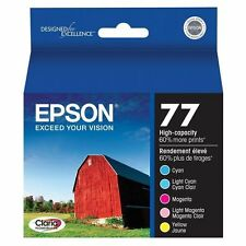Set 5 Genuine Epson 77 Ink T077920 Color T0772-T0774-T0776  High-Capacity 60%+