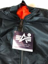 USAF MA1 Flyers Jacket By Alpha Industries Made In USA Blue Large New