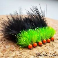 Set of 3 Chartreuse Hothead Olive//Red Fritz Lure size 10 Fly Fishing Flies