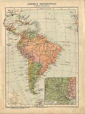 Carta geografica antica AMERICA MERIDIONALE Plata 1926 Old antique map