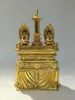 Japanese Wooden Buddhist Kannon God Statue Okimono Vintage Golden Temple B412