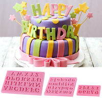 3Pcs Silicone Alphabet Number Letters Fondant Mold Cake Decorating Tool Mould