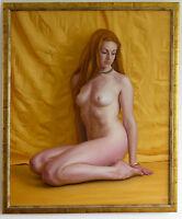 Original Framed Oil Painting Female Nude Girl Redhead Ginger Gold Art artwork