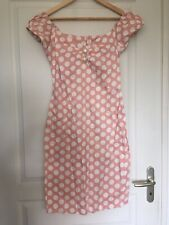 Robe crayon moulante pin up années 50 COLLECTIF rose pois blancs T38/40